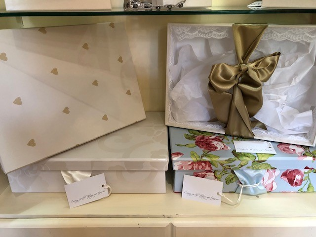 Wedding dress dry cleaning, gold hearts, endsleigh ivory, vintage rose